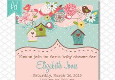 Bird Houses Invitation - Bird Birthday Invitation - Girl Baby Shower Invitation - Girly Birthday Invitation - Bridal Shower Invitation