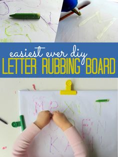 Letter Rubbings Board So simple! Cutting board into a letter rubbing board for letter recognition. Cutting board into a letter rubbing board for letter recognition. Preschool Letters, Kindergarten Literacy, Early Literacy, Preschool Learning, Toddler Preschool, Early Learning, Toddler Activities, Kids Learning, Toddler Games