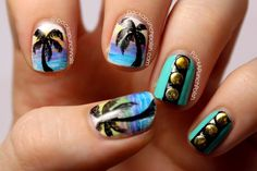 PackAPunchPolish: Palm Tree Gradients and Studs Nail Art Inspired by Clothing from Deb Shops