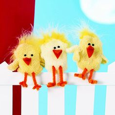 Made from baby socks turned inside out, this chirping set of baby chicks right is perfectly sized for little fingers.
