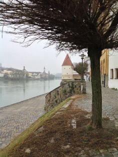 Again, here you can see the high water mark from flooding last spring (look at the white tower with the red roof) on the Danube in Passau, Germany. CraftCruises Christmas Markets River Cruise in December 2013