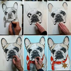 Work in progress …. French Bulldog custom dog portrait by Jeroen Teunen. The Dog Painter: www. Custom Dog Portraits, Dog Art, Doge, French Bulldog, Drawing, Painting, Animaux, Paintings, Bulldog Frances