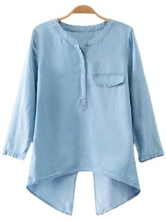 Online shopping for Blue Fake Pocket Cross Back Denim Blouse from a great selection of women's fashion clothing & more at MakeMeChic.COM.