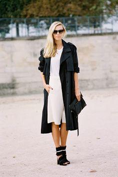 Black Trench // White Dress // via Vanessa Jackman