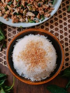 Coconut rice is fragrant, delicious and easy-to-make.Coconut rice is especially delicious when served with Malaysian, Thai, Lao, and other Southeast Asian dishes Coconut Rice, Toasted Coconut, Coconut Buns, Dim Sum, Rice Recipes, Asian Recipes, Japanese Recipes, Coconut Meat Recipes, Thai Recipes