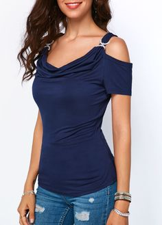 The cut on the Navy Blue Drape Neck blouse is so flattering! And Cold Shoulder is right on trend. Classic Outfits, Chic Outfits, Spring Outfits, Trendy Tops For Women, Blouses For Women, Women's Blouses, Simple Shirts, Cold Shoulder Blouse, Pattern Fashion