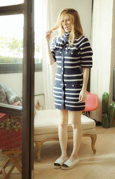 Body y chaqueta de Chanel de rayas marineras de punto                                                                                                                                                                                 Más