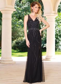 1917b69446d Size 18 Black Style 50964 from Sean Collection is a sleeveless V neck prom  dress with. French Novelty