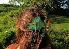Dragon Hair Stick Leather Barrette Large by LauraChilsonStudios, $34.00