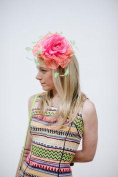 Milly NY Neon Print Dress + Headcandi Fascinator   Kentucky Derby Style   Kentucky Derby Hats