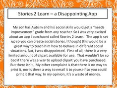 an app for creating social stories that disappoints.