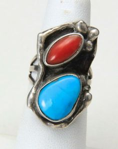 Native American Navajo Sterling Silver Stone Mosaic Channel Inlay Ring Southwest Southwestern Indian Ring Jet Turquoise Coral Bison Sz 7.5