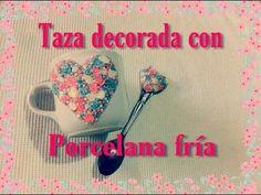 *TAZA DECORADA* CON PORCELANA FRÍA* Se puede lavar!!!! Ideal para este día de las madres!!! - YouTube Pasta, Lol, Tableware, Youtube, Doll, Cold, Decorating Cups, Decorating Bottles, Spoons