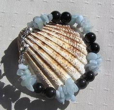 Black Onyx & Aquamarine Crystal Gemstone Bracelet by SunnyCrystals, £8.15