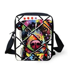 FORUDESIGNS Women Messenger Bags Colorful Pet Dog Printing Shoulder Bag Girls Cross Body Bag Pug Bulldog Messenger-Bag for Woman
