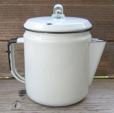 Vintage Enamelware Coffee Pot or Teapot White with by JulepTulip, $18.00