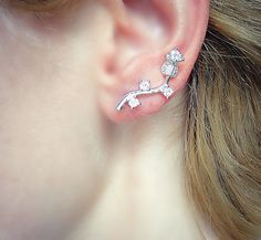 Sterling Silver ear pin, Swarovski Crystal ear cuffs, Diamond earrings, silver cuff earrings, crystal wrap earrings, sterling silver ear pin