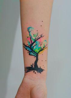 Watercolor Tree Tattoo Design Idea