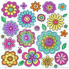 Psychedelic Flower Power Doodles Vector Set by Blue67, via Dreamstime