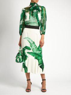 Banana leaf-print silk-chiffon blouse | Dolce & Gabbana | MATCHESFASHION.COM UK