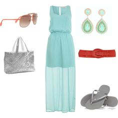 Aqua Coral Summer Dress Outfit. whyoffashion.com
