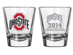 Ohio State Buckeyes 2015 College Football Playoffs National Champions Clear Satin Etch Shot Glass