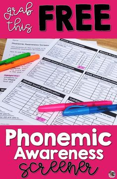 Teaching phonemic awareness is essential to prepare Kindergarten and first grade children to read. These pre-reading skills are often hard to get a handle on and know just where to start. This screener takes the guesswork out of that. Simply complete t First Grade Assessment, Kindergarten Assessment, First Grade Phonics, Reading Assessment, Teaching First Grade, Kindergarten Reading, Reading Intervention Activities, Kindergarten Phonics, First Grade Teachers