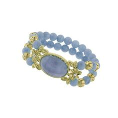 Charming Blue Lace Beaded Two Row Bracelet Gold Plated 1928. $29.30. BLUE. BRASS. OVAL. STRETCH