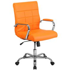 Flash Furniture Mid-Back Orange Vinyl Executive Swivel Chair with Chrome Base and Arms