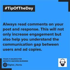 #growthmindset #marketingtip #onlinemarketingstrategies #tipoftheday Growth Hacking, Online Marketing Strategies, Tip Of The Day, Growth Mindset, Communication, No Response, Ads, Digital, Reading