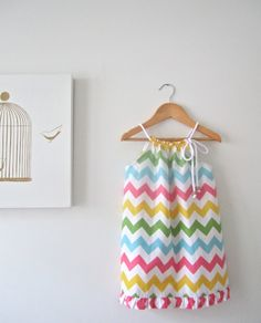 Girls Chevron Stripe Dress-vibrant multi colours-baby toddler summer dress-Handmade Children Clothing by Chasing Mini.. $38.00, via Etsy.