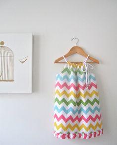 Girls Chevron Stripe Dress-vibrant multi colours-baby toddler summer dress-Handmade Children Clothing by Chasing Mini.. $38.00, via Etsy.