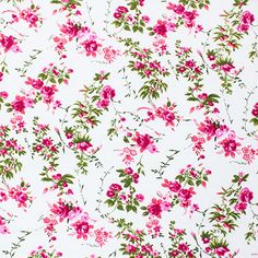 """Pink Rosey Vines on White Modal Cotton Spandex Knit Fabric - A designer overstock score! Lovely modal cotton jersey with spandex knit a rose floral vines design on white. Fabric is mid weight with an excellent 4 way stretch and recovery, nice soft hand.  Bouquets measure 4 1/2"""".  ::  $6.50"""