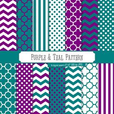 Buy 2 Get 1 Free! Digital Paper Purple & Teal Pattern, frozen theme, polka dots, green stripes, chevron for label, scrapbook, seamless by PeppyPapers on Etsy