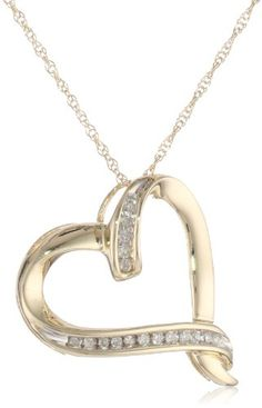 """10k Yellow Gold Diamond Abstract Heart Pendant Necklace (1/20 cttw), 18"""" Amazon Curated Collection http://smile.amazon.com/dp/B004H8FGPK/ref=cm_sw_r_pi_dp_78JOub037CXMK"""
