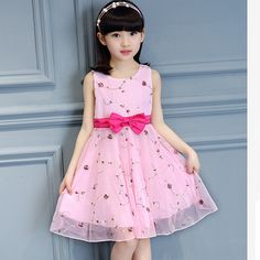 81ecaf3ee0a39 ... Brand New Summer Girls Dress Girl Beautiful Sleeveless Bow knot Print  Flower Lace Princess Party Dress Girls School Dress-in Dresses from Mother  & Kids ...