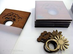 Laser Cut Rings made out of birch, walnut and mahogany inspired by actual Icelandic flowers.
