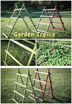 DIY Garden Trellis Free Plans And Tutorial | Handy & Homemade. What if I used this all vertically and fastened to the poles I use for my hyacinth bean vines?
