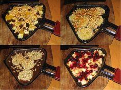 Raclette Recipes w/Fruit (in German). Fondue Raclette, Raclette Recipes, Raclette Party, Fruit Recipes, Grilling Recipes, Dessert Recipes, Cooking Recipes, Raclette Ideas, Recipes