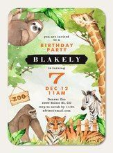 Watercolor Zoo #HappyBirthday #SimplytoImpress Boy Birthday Parties, Birthday Fun, Birthday Celebration, Birthday Invitations Kids, Watercolor Invitations, Card Sizes, Your Cards, Designers, Stationery