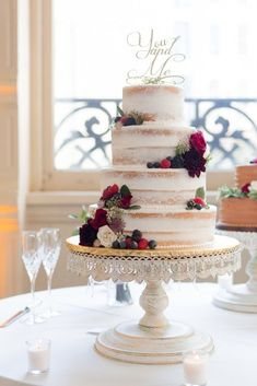 Classy New Orleans Wedding With Brass Band Parade – Arte de Vie Photography - four tier naked cake with berries Small Wedding Cakes, Purple Wedding Cakes, Wedding Cakes With Flowers, Elegant Wedding Cakes, Elegant Cakes, Wedding Cake Designs, Wedding Cake Toppers, Flower Cakes, Gold Wedding