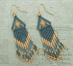 Linda's Crafty Inspirations: Native American Fringe Earrings - Blueberry & Gold