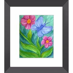 Transformation and Growth - Framed Print of Butterfly and Flower Watercolor Pencil Fine Art - The Unfolding Butterfly