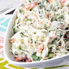 Nothing says summer like a bowl of fresh coleslaw. Shake things up with this horseradish dill coleslaw variety - crunchy, tangy, zesty, and delicious. Horseradish Coleslaw Recipe, Horseradish Recipes, Homemade Horseradish, Coleslaw Dressing, Coleslaw Mix, Coleslaw Recipes, Cooking Recipes, Healthy Recipes, Coleslaw