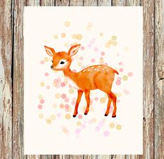Woodland nursery, fawn nursery, nursery decor, nursery wall art, children's art, childrens art