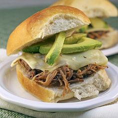 Avocado Pulled Pork Sliders ~ Heat Oven to 350 Avocado Recipes, Healthy Recipes, Sandwich Recipes, Yummy Recipes, Pulled Pork Sliders, Chicken Sliders, Pulled Pork Recipes, Food Menu, Food For Thought