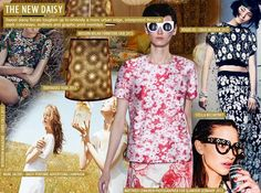SS 2016 Women's Key Prints and Pattern, The New Daisy. Sweet daisy florals toughen up to embody a more urban edge, as interpreted through stark colorways, outlines and graphic print overlays. Clean white blooms flourish on sporty Stella McCartney tees, as Chanel goes 3D with beaded embellishment on white tops. Cushnie et Ochs taps into a more artistic mood with hand-drawn doodles on an asymmetric shape.