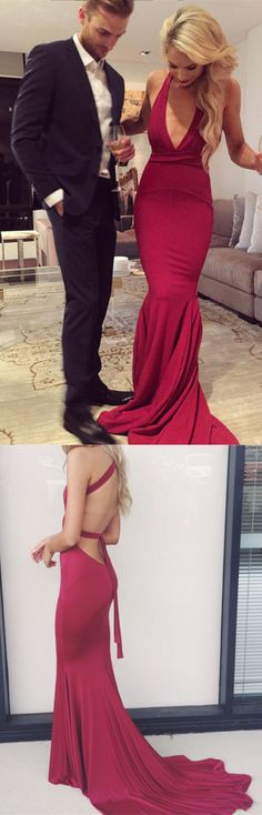 gorgeous mermaid long red evening dress with train, 2017 long prom dress, red long prom dress, mermaid long prom dress with criss back, wedding reception dress