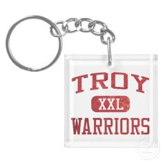 Troy Warriors Athletics Square Acrylic Key Chains