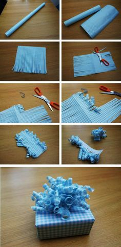 Make a homemade decorative curly bow - looks fab and is so easy to make! Shop for gorgeous wrapping paper and supplies at www.joscards.co.uk today!